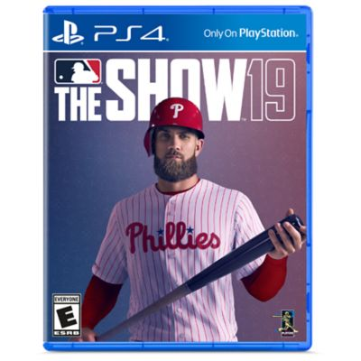 PS4 MLB The Show 19 game box art showing Bryce Harper in a Philadelphia Phillies jersey holding a bat.
