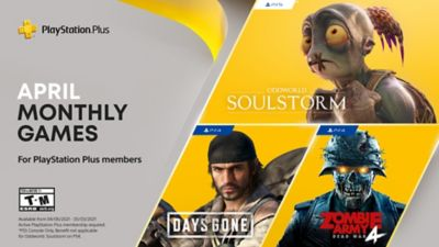 PlayStation Plus free games for the month, featuring Oddworld: Soulstorm, Days Gone and Zombie Army 4: Dead War